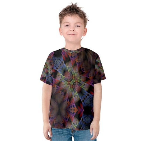 Abstract Animated Ornament Background Fractal Art Kids  Cotton Tee by Wegoenart