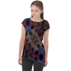 Abstract Animated Ornament Background Fractal Art Cap Sleeve High Low Top