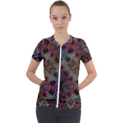 Abstract Animated Ornament Background Fractal Art Short Sleeve Zip Up Jacket