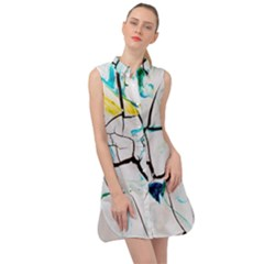 White And Multicolored Illustration Sleeveless Shirt Dress