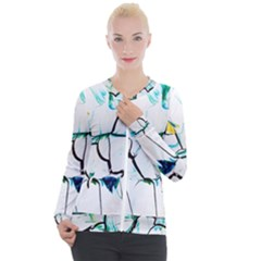 White And Multicolored Illustration Casual Zip Up Jacket