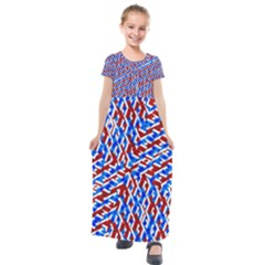 Art Unique Design Kaleidoscope Kids  Short Sleeve Maxi Dress by Wegoenart
