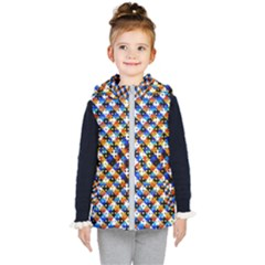 Kaleidoscope Art Unique Design Kids  Hooded Puffer Vest by Wegoenart