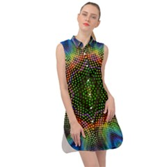 Kaleidoscope Art Unique Design Sleeveless Shirt Dress