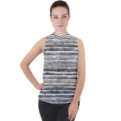 Striped Grunge Print Design Mock Neck Chiffon Sleeveless Top by dflcprintsclothing