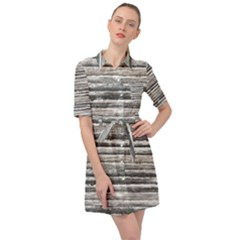 Striped Grunge Print Design Belted Shirt Dress by dflcprintsclothing