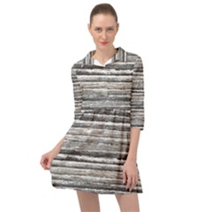 Striped Grunge Print Design Mini Skater Shirt Dress by dflcprintsclothing