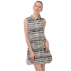 Striped Grunge Print Design Sleeveless Shirt Dress by dflcprintsclothing