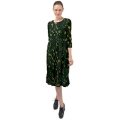 Greencamo Ruffle End Midi Chiffon Dress
