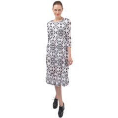 Black And White Patterned Backgroun Ruffle End Midi Chiffon Dress