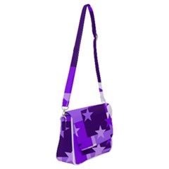 Purple Stars Pattern Shape Shoulder Bag With Back Zipper