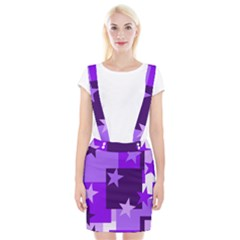 Purple Stars Pattern Shape Braces Suspender Skirt
