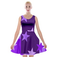 Purple Stars Pattern Shape Velvet Skater Dress