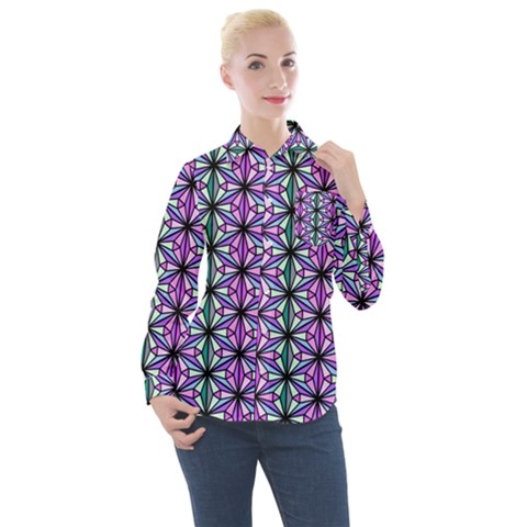 Triangle Seamless Women s Long Sleeve Pocket Shirt by Mariart