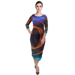 Research Mechanica Quarter Sleeve Midi Velour Bodycon Dress by HermanTelo