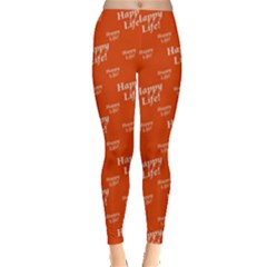 Motivational Happy Life Words Pattern Leggings