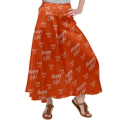 Motivational Happy Life Words Pattern Satin Palazzo Pants