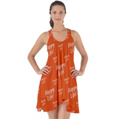 Motivational Happy Life Words Pattern Show Some Back Chiffon Dress