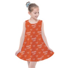 Motivational Happy Life Words Pattern Kids  Summer Dress