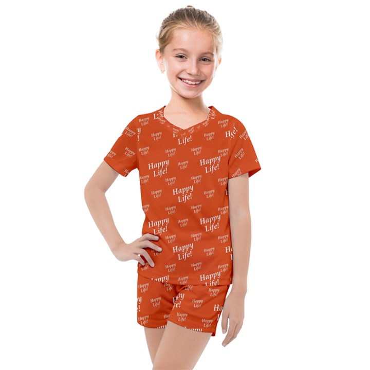 Motivational Happy Life Words Pattern Kids  Mesh Tee and Shorts Set
