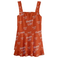 Motivational Happy Life Words Pattern Kids  Layered Skirt Swimsuit