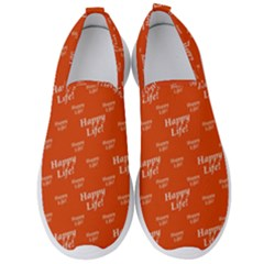 Motivational Happy Life Words Pattern Men s Slip On Sneakers by dflcprintsclothing