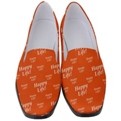 Motivational Happy Life Words Pattern Women s Classic Loafer Heels