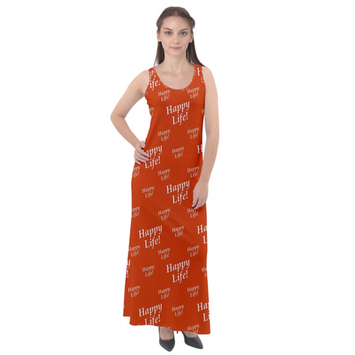 Motivational Happy Life Words Pattern Sleeveless Velour Maxi Dress