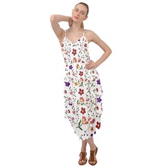 Flowers On A White Background                 Layered Bottom Dress