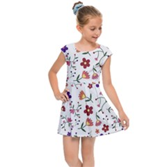 Flowers On A White Background             Kids Cap Sleeve Dress by LalyLauraFLM