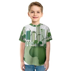 Vector Energy Saving Caring For The Earth Kids  Sport Mesh Tee