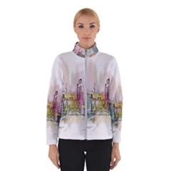 Drawing Watercolor Painting City Winter Jacket by Bejoart