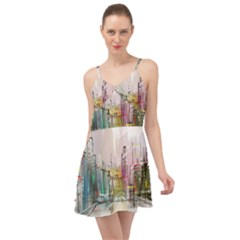 Drawing Watercolor Painting City Summer Time Chiffon Dress