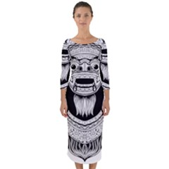 Balinese Art Barong Drawing Bali Quarter Sleeve Midi Bodycon Dress