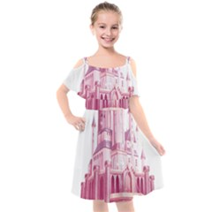 Pink Castle Kids  Cut Out Shoulders Chiffon Dress