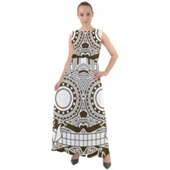 Barong Mask Art Bali Chiffon Mesh Maxi Dress