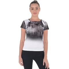 Haunted Night Building Short Sleeve Sports Top  by Bejoart
