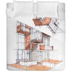 Rag Flats Onion Flats Llc Architecture Drawing Graffiti Architecture Duvet Cover Double Side (california King Size) by Bejoart