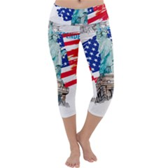 Statue Of Liberty Independence Day Poster Art Capri Yoga Leggings