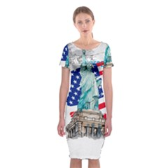 Statue Of Liberty Independence Day Poster Art Classic Short Sleeve Midi Dress