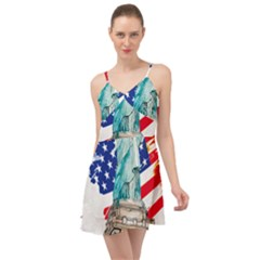 Statue Of Liberty Independence Day Poster Art Summer Time Chiffon Dress