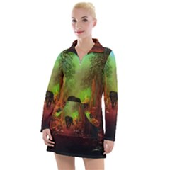 The Lonely Wolf In The Night Women s Long Sleeve Casual Dress