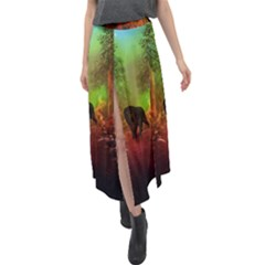 The Lonely Wolf In The Night Velour Split Maxi Skirt