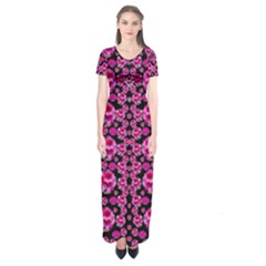 Floral To Be Happy Of In Soul And Mind Decorative Short Sleeve Maxi Dress by pepitasart