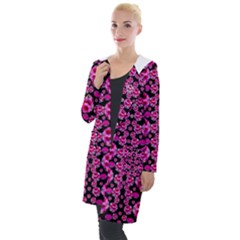 Floral To Be Happy Of In Soul And Mind Decorative Hooded Pocket Cardigan by pepitasart