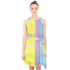 Easter Background Easter Plaid Halter Collar Waist Tie Chiffon Dress