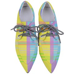 Easter Background Easter Plaid Pointed Oxford Shoes
