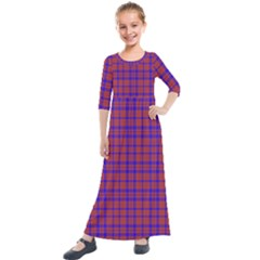 Pattern Plaid Geometric Red Blue Kids  Quarter Sleeve Maxi Dress by Simbadda