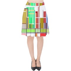 Business Finance Statistics Graphic Velvet High Waist Skirt by Simbadda