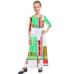 Business Finance Statistics Graphic Kids  Quarter Sleeve Maxi Dress by Simbadda